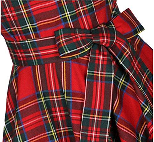 VKStar® Vintage Damen 1950s Audrey Hepburn britische Art Schwing Retro Rockabilly Plaid Abend-Partykleid Schleife - 4