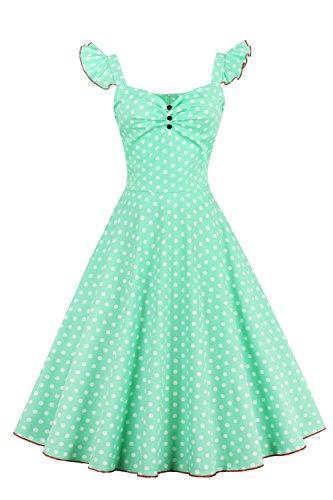 Babyonline - Damen 50er, 60er Vintage Kleid Petticoat Polka Dots Knielang Grün
