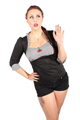 GINGHAM Ruffle Rockabilly pin up Karo Rüschen Kirsche Bluse