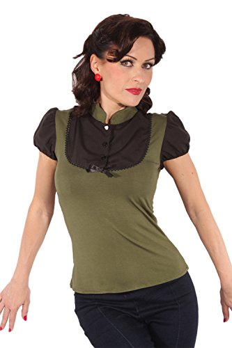 SugarShock Damen Retro Puffärmel pin up Rockabilly Military Bluse T-Shirt oliv schwarz M