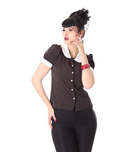 SugarShock Iffi 50er retro Bubikragen French Maid Rockabilly Puffärmel Bluse
