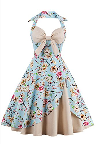 Babyonline- Damen 60er Jahre Vintage Faltenrock Abendkleid Blumen Knielang Blau M