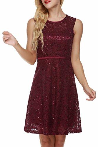 ACEVOG Damen Kleid Spitzenkleid Partykleid Elegant Cocktailkleid Sommerkleid Festlich Knielang