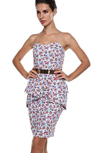 ACEVOG Damen Trägerlose Floral Abendkleider Party Bodycon Cocktailkleider Rückenfrei Abschlussballkleid mit Gürtel Schößchen Vintage Kurz