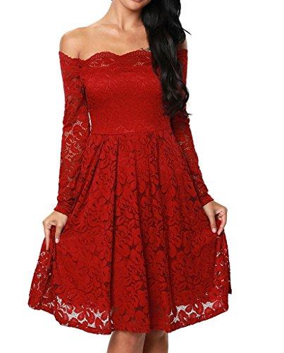 Damen Elegant Spitzenkleid Langarm Schulterfreies Skaterkleid Cocktailkleid Abendkleid Rot S