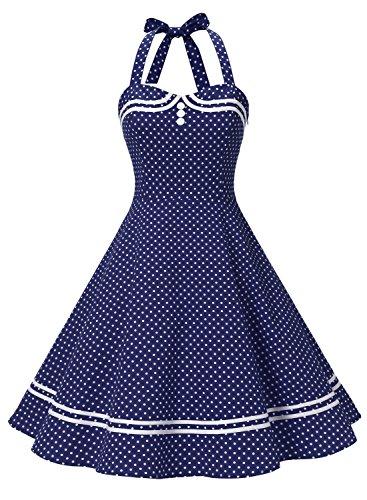 Damen 1950er Jahre Vintage Abendkleid Elegant Neckholder Retro Cocktailkleid Faltenrock Kleid Pinup Baumwolle Rockabilly Partei Swing