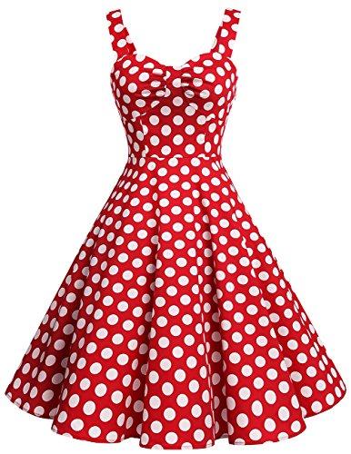 Dresstells Schultergurt 1950er Retro Schwingen Pinup Rockabilly Kleid Faltenrock Red White Dot L