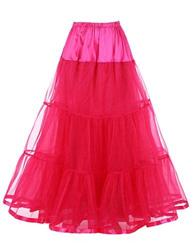 Dresstells Knöchellang Petticoat Reifrock Unterrock Underskirt Crinoline für Hochzeitskleider Rose L-XL