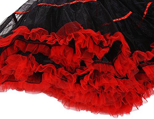 Dresstells 50s Petticoat Reifrock Unterrock Petticoat Underskirt Crinoline für Rockabilly Kleid White Black - 4