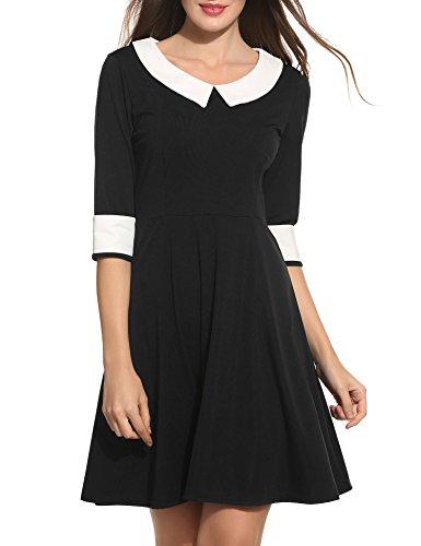 Damen Bubikragen Kleid 1/2 Arm Abendkleid Vintage 50er Kleid Rockabilly Festlich Kleider Schwarz