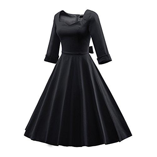 iLover Frauen Vintage 1950er halbe Hülsen Weinlese Großes Hem Rockabilly Swing Kleid - 2