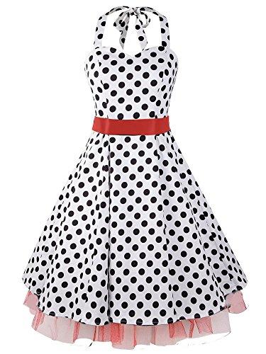 ILover Damen Polka Punkt Kleid Neckholder 50er Blumen Schaukel Pinup Rockabilly Vintage Kleid
