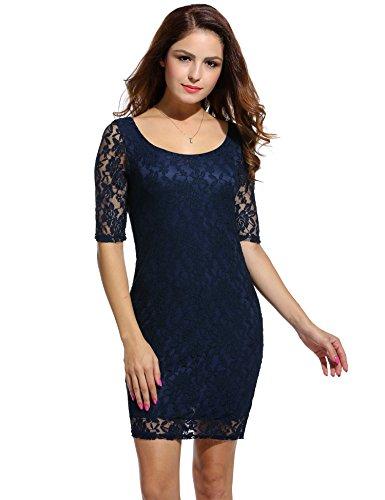 ANGVNS Damen Rundhals-Ausschnitt Spitzenkleid Floral Slim Fit Kurz Cocktailkleid Abendkleid Parykleid