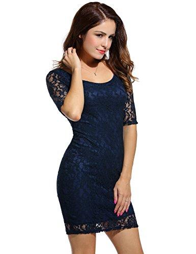 ANGVNS Damen Rundhals-Ausschnitt Spitzenkleid Floral Slim Fit Kurz Cocktailkleid Abendkleid Parykleid - 2