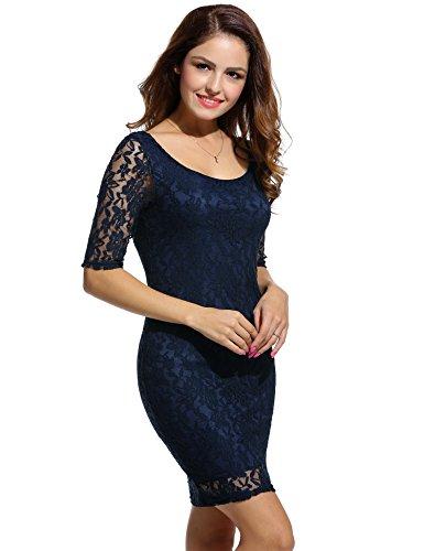ANGVNS Damen Rundhals-Ausschnitt Spitzenkleid Floral Slim Fit Kurz Cocktailkleid Abendkleid Parykleid - 4
