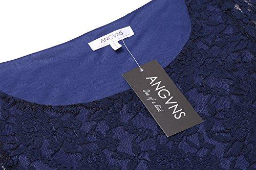 ANGVNS Damen Rundhals-Ausschnitt Spitzenkleid Floral Slim Fit Kurz Cocktailkleid Abendkleid Parykleid - 5