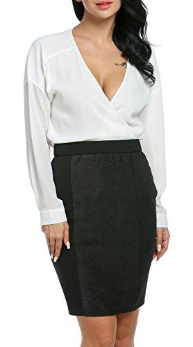 Damen Chiffon zweiteiliger Karriereanzug tiefer V-Ausschnitt Langärmeliger Oberteil und knielanges Kleid mit elastischer Taile Bleistift Design und rückseitigenreißverschluss