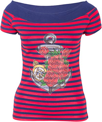 Küstenluder MY ANCHOR Anker Rosen Nautical Sailor CARMEN Shirt Rockabilly