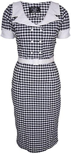 Küstenluder DULCIE Pepita GINGHAM 50s Retro PENCIL DRESS Kleid Rockabilly