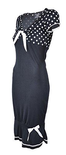 Küstenluder LARISSA Polka Dots 50s Punkte Bow Pin Up Dress / Kleid - Blk Rockab -