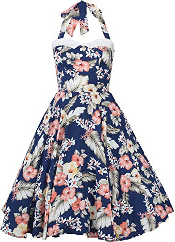Küstenluder WANDA Hibiscus Aloha Vintage Neckholder SWING Dress Kleid Rockabill