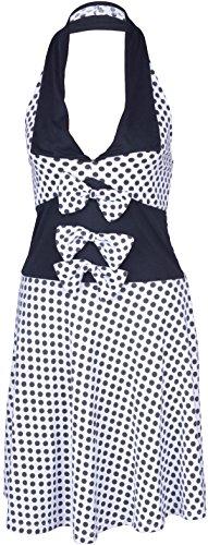 Küstenluder MABLE Polka Dots BOW Neckholder SWING Kleid Rockabilly - Weiß