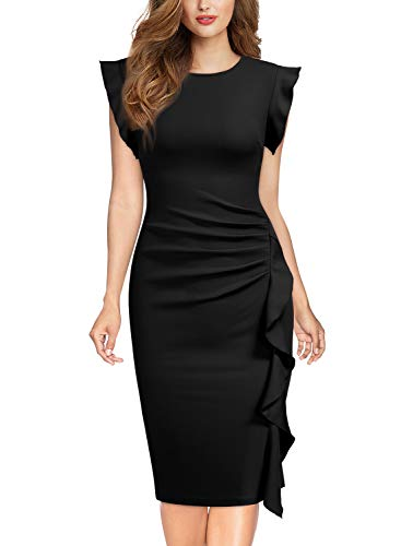 Miusol Rundhals Abendkleid mit Falte Etuikleid Knielanges Kleid