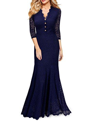 Miusol Elegante Damen 3/4 Arm V-Ausschnitt Spitzen Brautkleid Festliches Kn?pfe Cocktailkleid Langes Abendkleid Navy Blau Gr.S