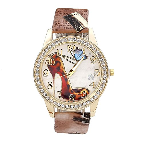 JSDDE Uhren,Oktoberfest Vintage Damen Strass Armbanduhr Falter Schuhe mit hohem Absatz Muster Analog Quarzuhr,Kaffee