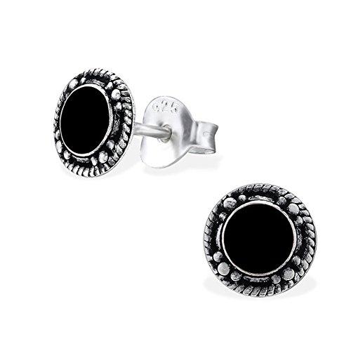 Ohrstecker Ohrringe Schwarz Vintage 925 Silber 7mm rund für Damen und Herren (2 Stück - 1 Paar)