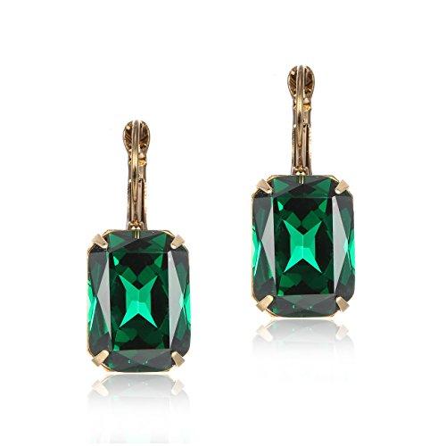 eManco Hebel Zurück Smaragd-Grün Kristall Ohrringe Ohrhänger für Damen Frauen Edelstein Mode Schmuck