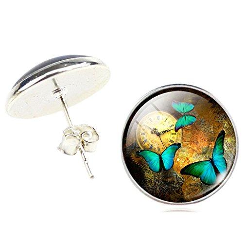 ᐅ Frauen Jahrgang Uhr Grün Schmetterling Ohrstecker Ohrringe