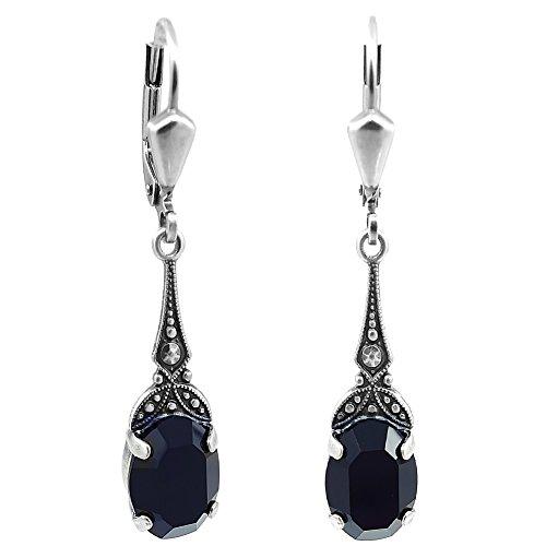 Jugendstil Ohrringe mit Kristallen von Swarovski® Damen - Silber Viele Farben - NOBEL SCHMUCK (Jet)