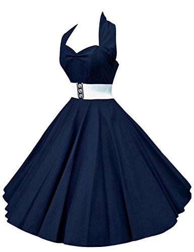 VKStar®Retro Chic ärmellos 1950er Audrey Hepburn Kleid / Cocktailkleid Rockabilly Swing Kleid Marineblau