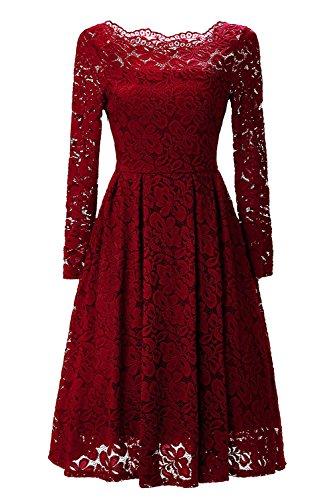 YaoDgFa Sexy Damen Kleider Spitze Abendkleid Cocktailkleid Partykleid Rockabilly Kleid Knielang Festlich Langarm Off Schulter Retro 1950er