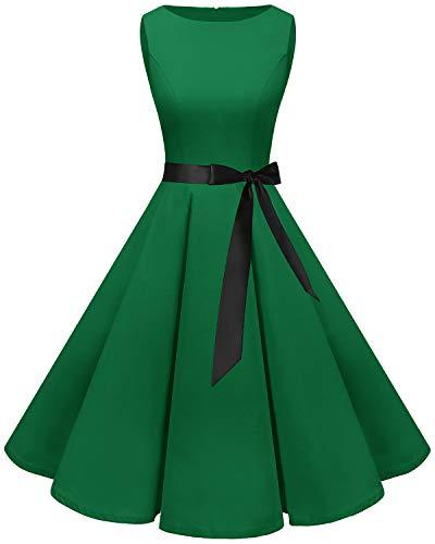 Bbonlinedress 50s Retro Schwingen Vintage Rockabilly kleid Faltenrock Green 3XL