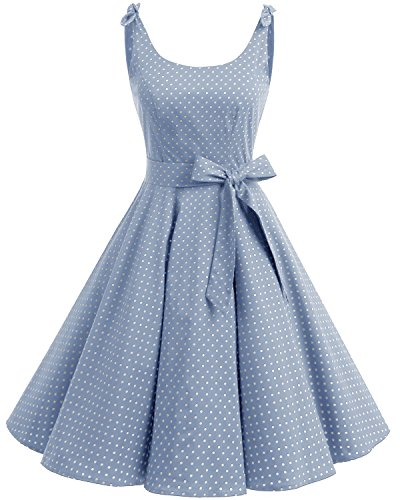 Bbonlinedress 1950er Vintage Polka Dots Pinup Retro Rockabilly Kleid Cocktailkleider Blue White Dot XL