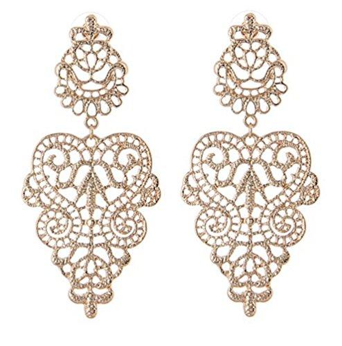 Lange Linayo® Gold Farbene Viktorianische Vintage Style Barock Spitzen Ohrringe, ohrstecker