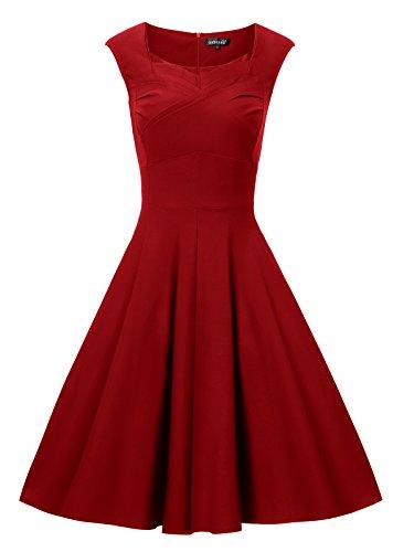 Gigileer Elegante 50er Damen Swing Kleider festliche Cocktail Hochzeit Abendkleid Knielang burgundy XXL
