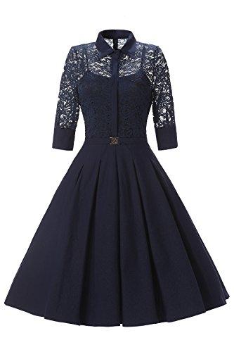 Gigileer Elegant Damen Kleider Spitzenkleid Cocktailkleid Winter Knielanges 3/4 Arm festlich hochzeit Marineblau XXL