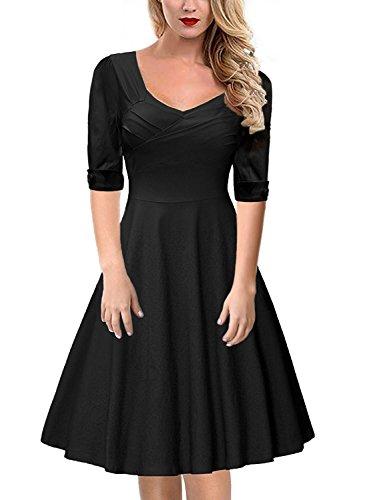 Gigileer Elegant 50s Rockabilly Damen Kleider Cocktailkleid Winter Knielanges Kurzarm festlich hochzeit schwarz XXXL