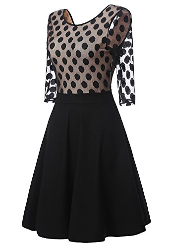 ᐅ Gigileer Vintage Damen Kleider Pin Dots Swing Dress 1/2 ...