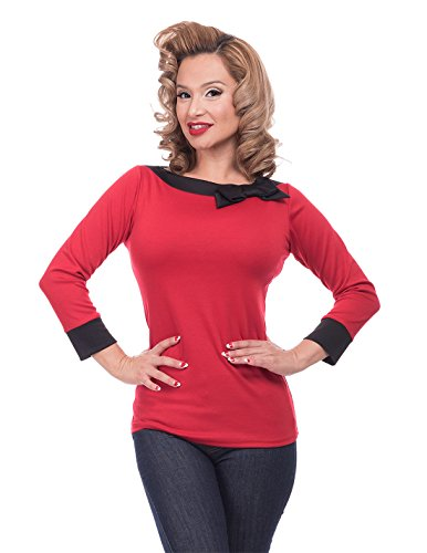 Steady Clothing Damen Retro Bluse mit Schleife - Solid Boatneck Rockabilly Oberteil 3/4 Arm Rot XL