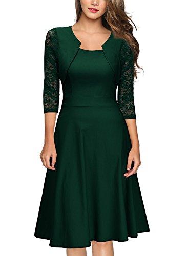 Miusol Damen Abendkleid Elegant Cocktailkleid Vintage Kleider 3/4 Arm mit Spitzen Knielang Party Kleid Gruen Gr.XL