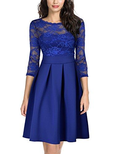 Miusol Cocktailkleid Spitzen 3/4 Arm Vintage Kleid Brautjungfer 50er Jahr Abendkleid Hellblau