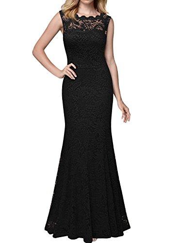 Miusol Kleid Spitzenkleid für Sommer Ruckelfrei und Ärmellos Brautjungferkleid Cocktailkleid