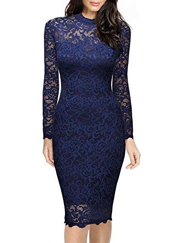 Miusol Damen Spitzen Cocktailkleid Elegant Abendkleid Brautjungfer Ballkleid Rundhals Langarm Stretch Kleider Dunkleblau Gr.XL