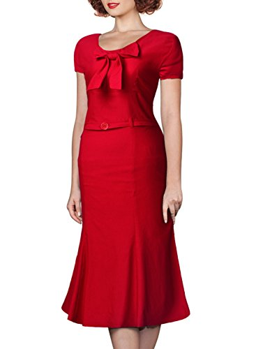 Miusol Damen Kurzarm Vintage Business Schleife Cocktailkleid Fishtail 1950er Jahre Kleid Rot Groesse 46/XXL