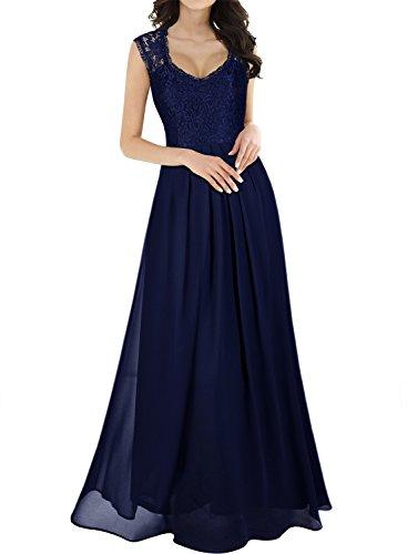 Miusol Damen Aermellos V-Ausschnitt Spitzenkleid Brautjungfer Cocktailkleid Chiffon Faltenrock Langes Kleid Dunkelblau Groesse 44/46/XL