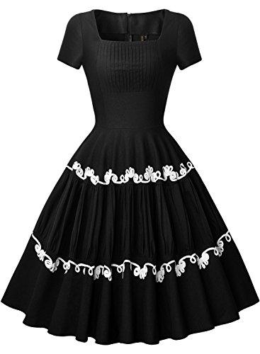 Miusol 50er Retro Rockabilly Kleid Audrey Hepburn Schwingen Bestickt Cocktailkleid Abendkleid Schwarz Gr.S